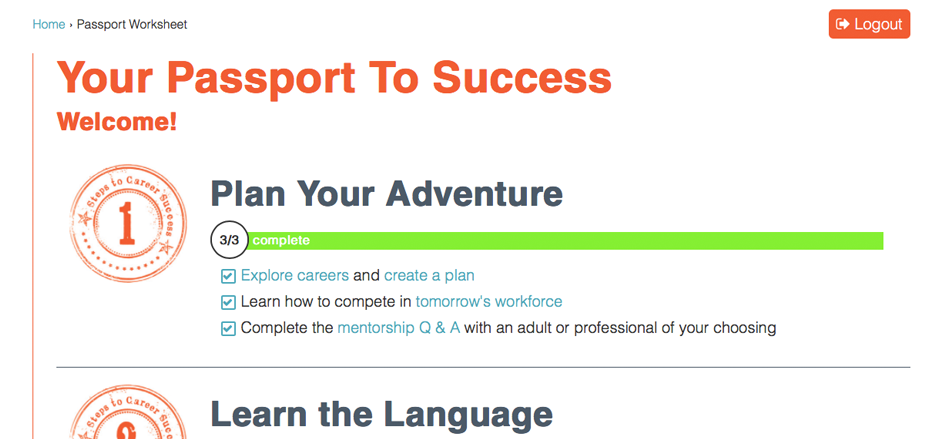 Screenshot of Passport to Success main checklist page