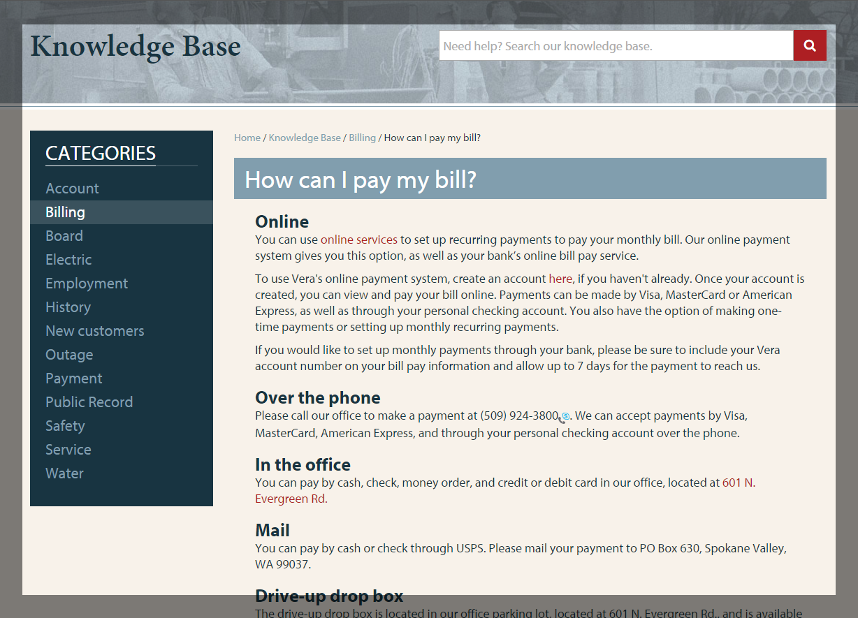 Knowledge base on the Vera site