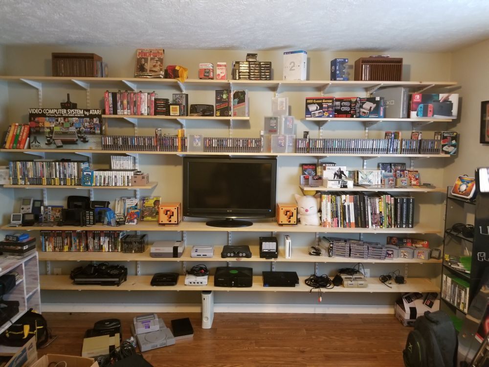 Neatly organized video game collection